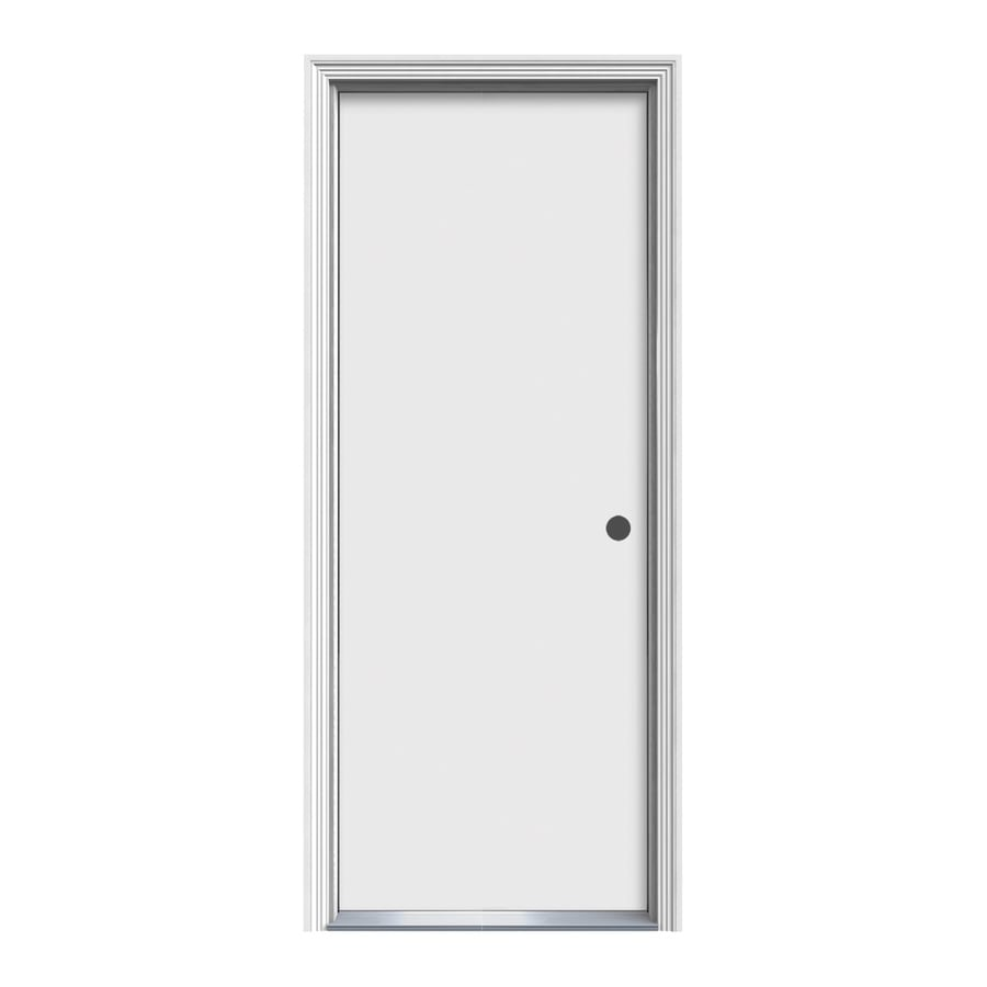 ReliaBilt Decorative Glass Left-Hand Inswing Primed Steel Prehung Entry Door with Insulating Core (Common: 30-in x 80-in; Actual: 31.5-in x 81.5-in)