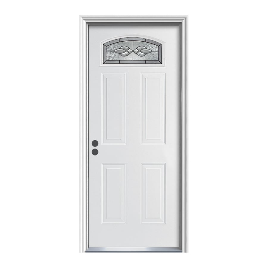 Shop Reliabilt Hampton Decorative Glass Right Hand Inswing Primed Steel Prehung Entry Door With