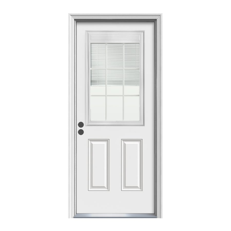 ReliaBilt Decorative Glass Right-Hand Inswing Primed Steel Prehung Entry Door with Insulating Core (Common: 34-in x 80-in; Actual: 35.5000-in x 81.5000-in)