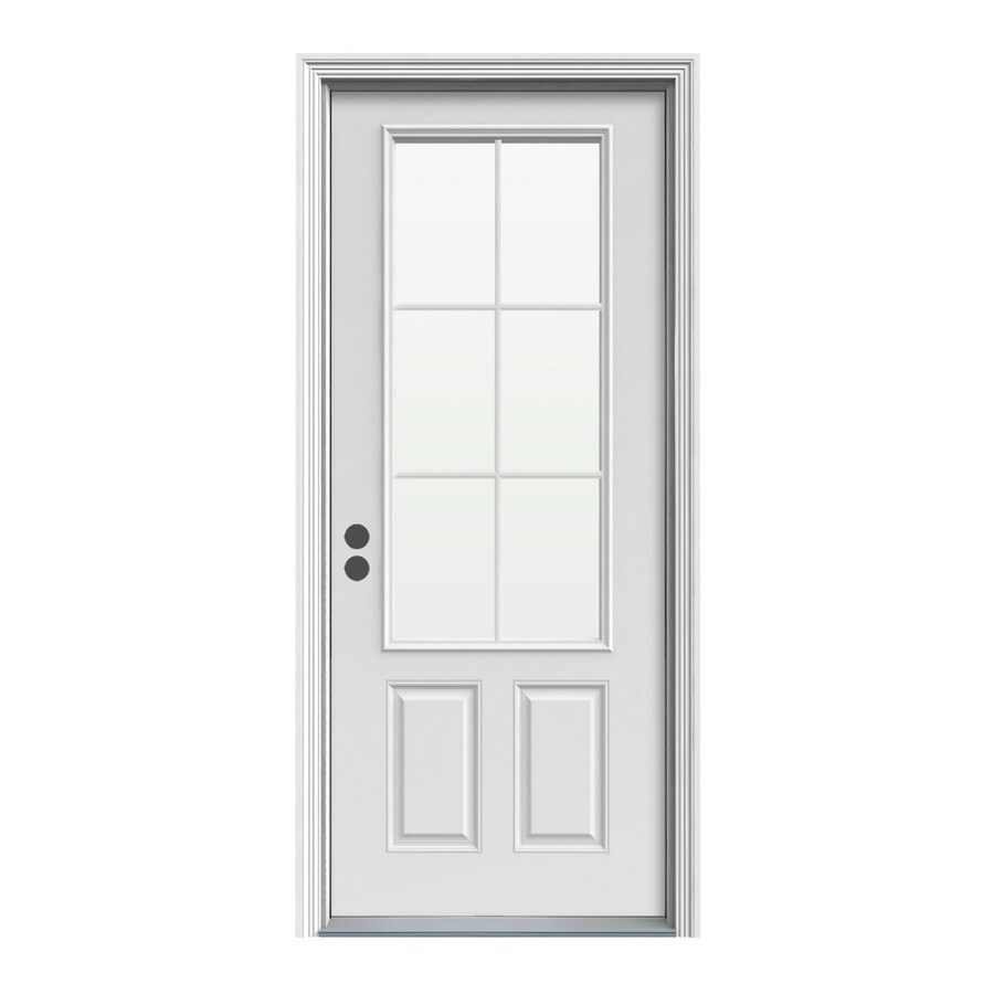 ReliaBilt 33.5-in x 81.75-in 3/4 Lite Prehung Inswing Steel Entry Door