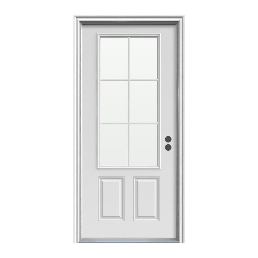 ReliaBilt Decorative Glass Left-Hand Inswing Steel Primed Entry Door (Common: 36-in x 80-in; Actual: 37.5000-in x 81.5000-in)