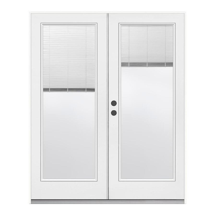 Blinds For French Doors Lowes shop reliabilt 71.5-in tilt and raise glass clear steel french