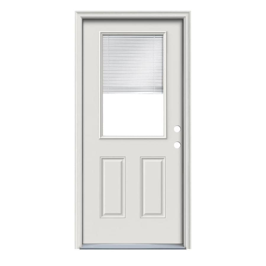 ReliaBilt 2-Panel Insulating Core Half Lite Left-Hand Inswing Primed Steel Primed Prehung Entry Door (Common: 32.0000-in x 80.0000-in; Actual: 33.5000-in x 81.7500-in)