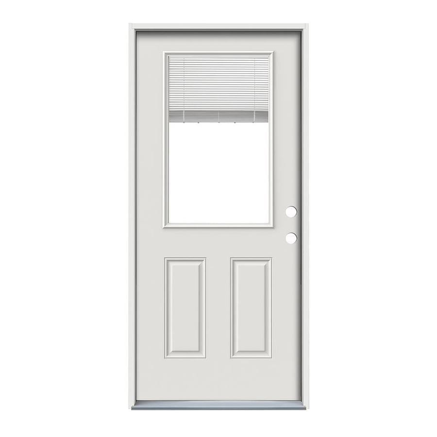 ReliaBilt 2-Panel Insulating Core Half Lite Left-Hand Inswing Steel Primed Prehung Entry Door (Common: 32-in x 80-in; Actual: 33.5-in x 81.75-in)