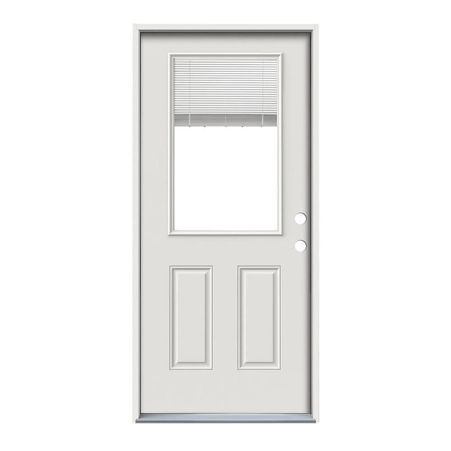 ReliaBilt 2-Panel Insulating Core Half Lite Left-Hand Inswing Primed Steel Primed Prehung Entry Door (Common: 36.0000-in x 80.0000-in; Actual: 37.5000-in x 81.7500-in)