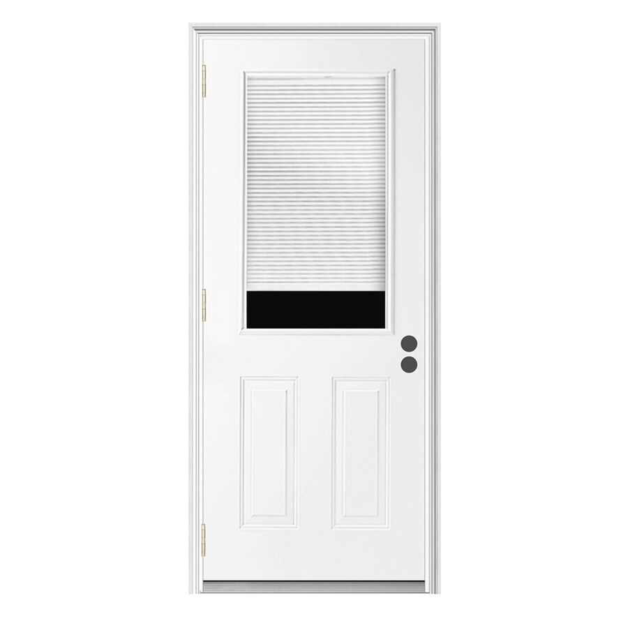 JELD-WEN Right-Hand Inswing Steel Primed Entry Door (Common: 36-in x 80-in; Actual: 37.5000-in x 81.7500-in)