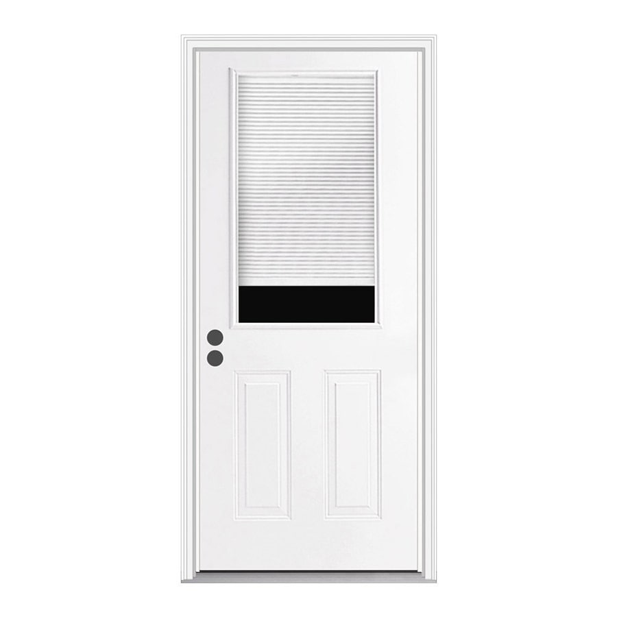 JELD-WEN 2-Panel Insulating Core Half Lite Right-Hand Inswing Steel Primed Prehung Entry Door (Common: 36-in x 80-in; Actual: 37.5-in x 81.75-in)