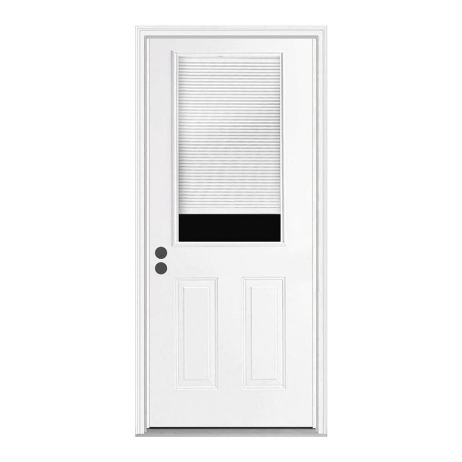 JELD-WEN 2-Panel Insulating Core Half Lite Left-Hand Inswing Steel Primed Prehung Entry Door (Common: 36-in x 80-in; Actual: 37.5-in x 81.75-in)