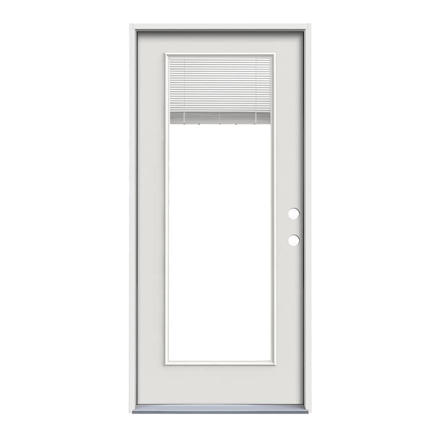 ReliaBilt Decorative Glass Left-Hand Inswing Primed Steel Prehung Entry Door with Insulating Core (Common: 36-in x 80-in; Actual: 37.5000-in x 81.7500-in)