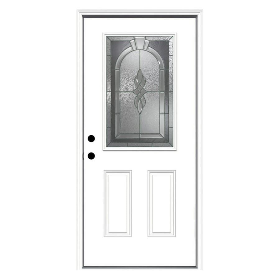 ReliaBilt Hampton 2-Panel Insulating Core Half Lite Right-Hand Inswing Primed Fiberglass Primed Prehung Entry Door (Common: 36-in x 80-in; Actual: 37.5-in x 81.75-in)