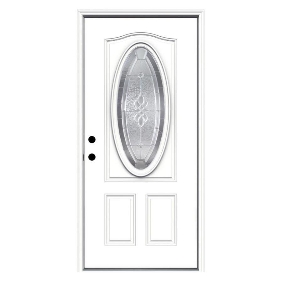 ReliaBilt Hampton 2-Panel Insulating Core Oval Lite Right-Hand Inswing Primed Fiberglass Primed Prehung Entry Door (Common: 36-in x 80-in; Actual: 37.5-in x 81.75-in)