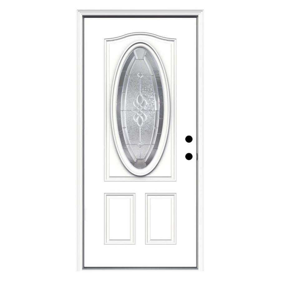 ReliaBilt Hampton Decorative Glass Left-Hand Inswing Primed Fiberglass Prehung Entry Door with Insulating Core (Common: 36-in x 80-in; Actual: 37.5000-in x 81.7500-in)