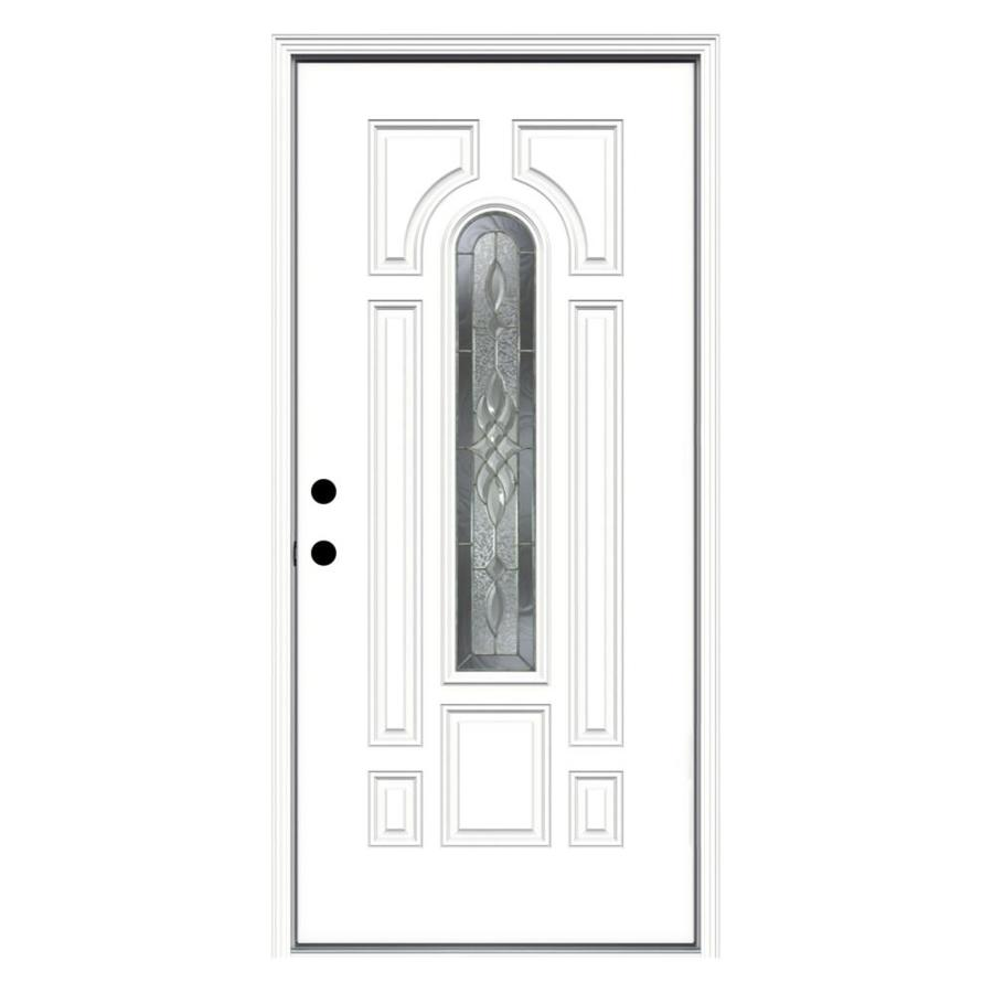 ReliaBilt Hampton Decorative Glass Right-Hand Inswing Fiberglass Primed Entry Door (Common: 36-in x 80-in; Actual: 37.5000-in x 81.7500-in)