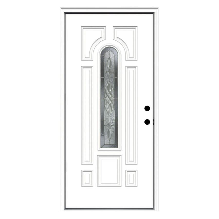 ReliaBilt Hampton Decorative Glass Left-Hand Inswing Primed Fiberglass Prehung Entry Door with Insulating Core (Common: 36-in x 80-in; Actual: 37.5-in x 81.75-in)