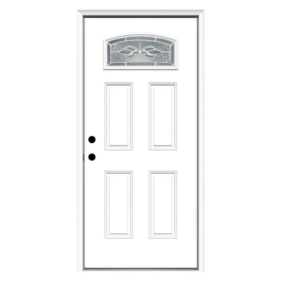 Exterior Doors At Lowe S : Shop reliabilt hampton decorative glass right hand inswing