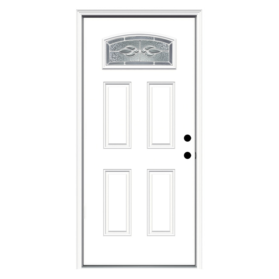 ReliaBilt Hampton Decorative Glass Left-Hand Inswing Fiberglass Primed Entry Door (Common: 36-in x 80-in; Actual: 37.5-in x 81.75-in)