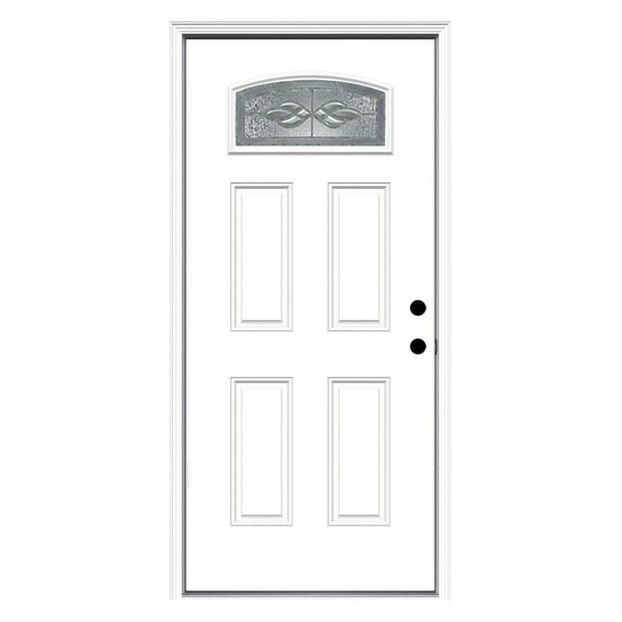 ReliaBilt Hampton Decorative Glass Left-Hand Inswing Fiberglass Primed Entry Door (Common: 36-in x 80-in; Actual: 37.5000-in x 81.7500-in)