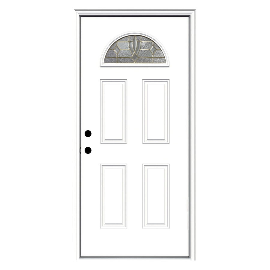 ReliaBilt Laurel 4-Panel Insulating Core Fan Lite Right-Hand Inswing Primed Fiberglass Primed Prehung Entry Door (Common: 36-in x 80-in; Actual: 37.5-in x 81.75-in)