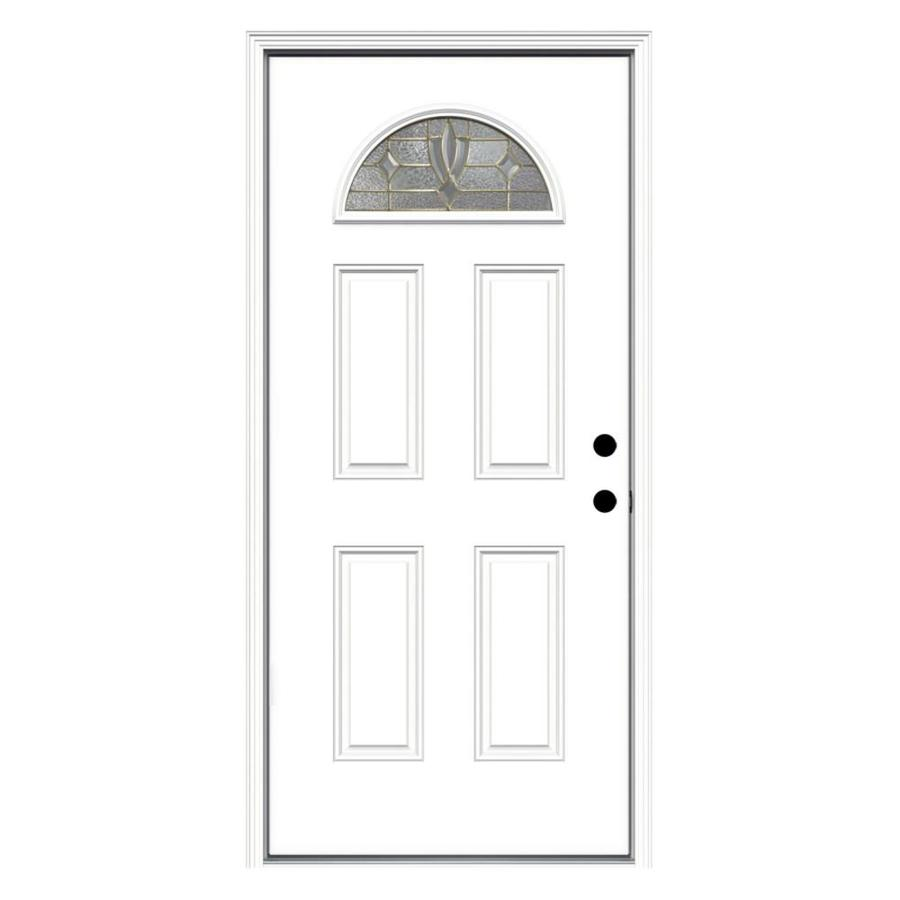 ReliaBilt Laurel Decorative Glass Left-Hand Inswing Fiberglass Primed Entry Door (Common: 36-in x 80-in; Actual: 37.5000-in x 81.7500-in)