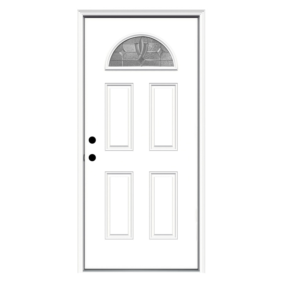 ReliaBilt Laurel 4-panel Insulating Core Fan Lite Right-Hand Inswing Fiberglass Primed Prehung Entry Door (Common: 36-in x 80-in; Actual: 37.5-in x 81.75-in)