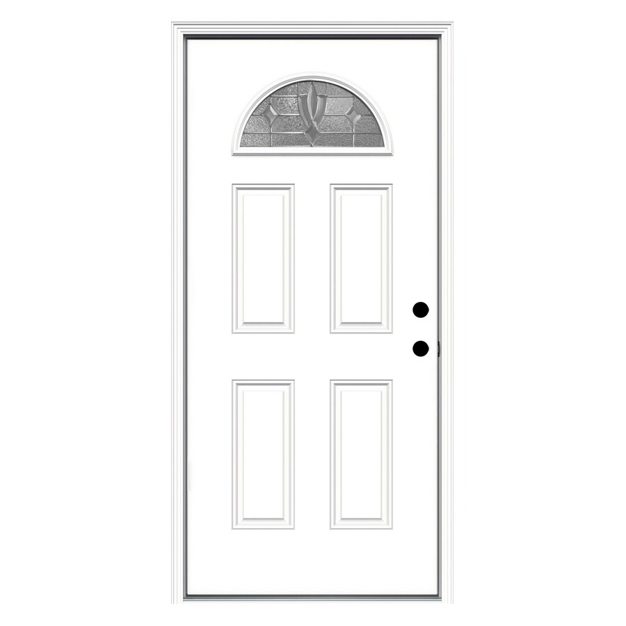 ReliaBilt Laurel 4-Panel Insulating Core Fan Lite Left-Hand Inswing Primed Fiberglass Primed Prehung Entry Door (Common: 36-in x 80-in; Actual: 37.5-in x 81.75-in)