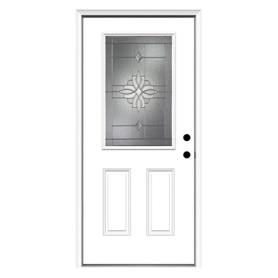 ReliaBilt Laurel 2-Panel Insulating Core Half Lite Left-Hand Inswing Primed Fiberglass Primed Prehung Entry Door (Common: 36-in x 80-in; Actual: 37.5-in x 81.75-in)