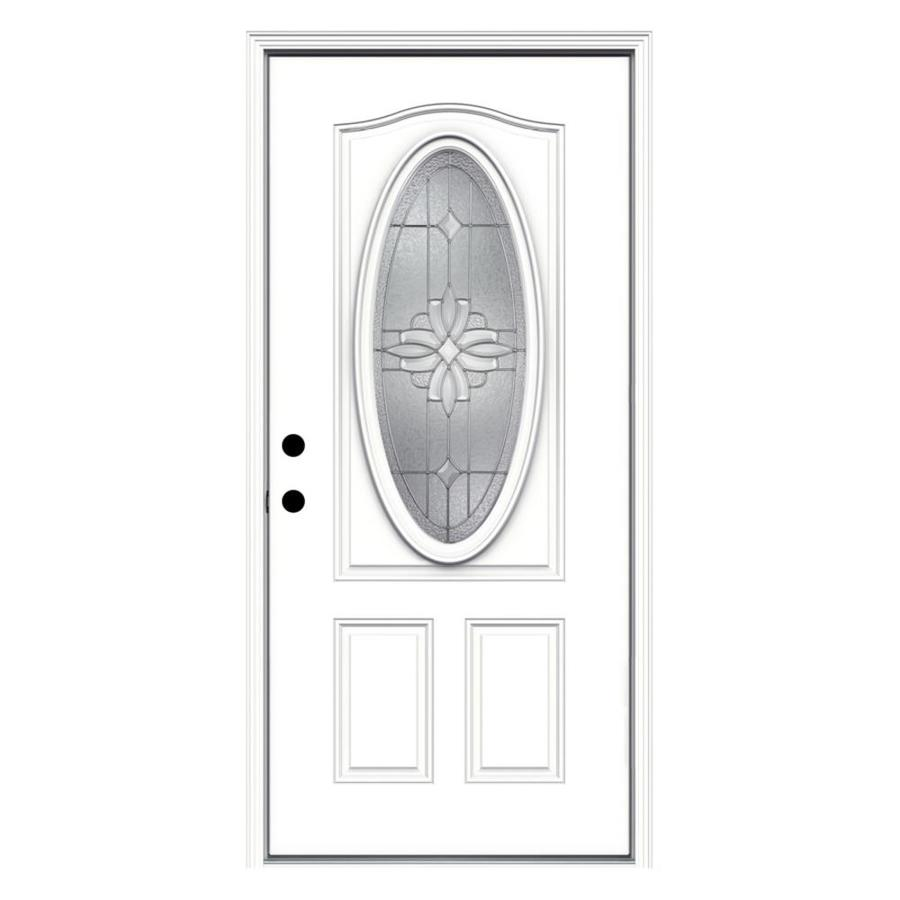 ReliaBilt Laurel 2-panel Insulating Core Oval Lite Right-Hand Inswing Fiberglass Primed Prehung Entry Door (Common: 36-in x 80-in; Actual: 37.5-in x 81.75-in)