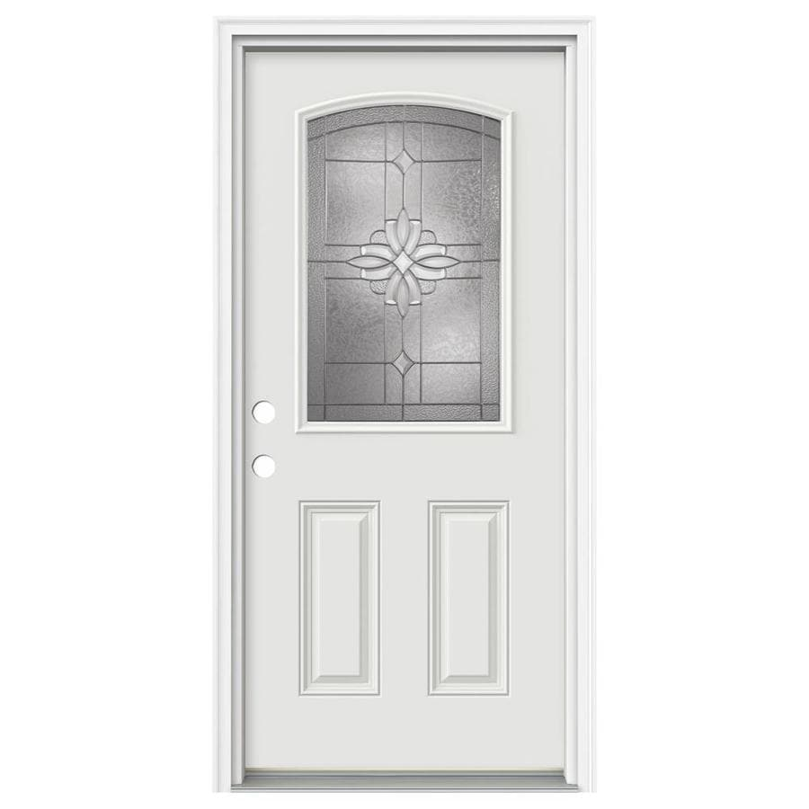 ReliaBilt Laurel 2-Panel Insulating Core Camber Top Half Lite Right-Hand Inswing Primed Fiberglass Primed Prehung Entry Door (Common: 36-in x 80-in; Actual: 37.5-in x 81.75-in)