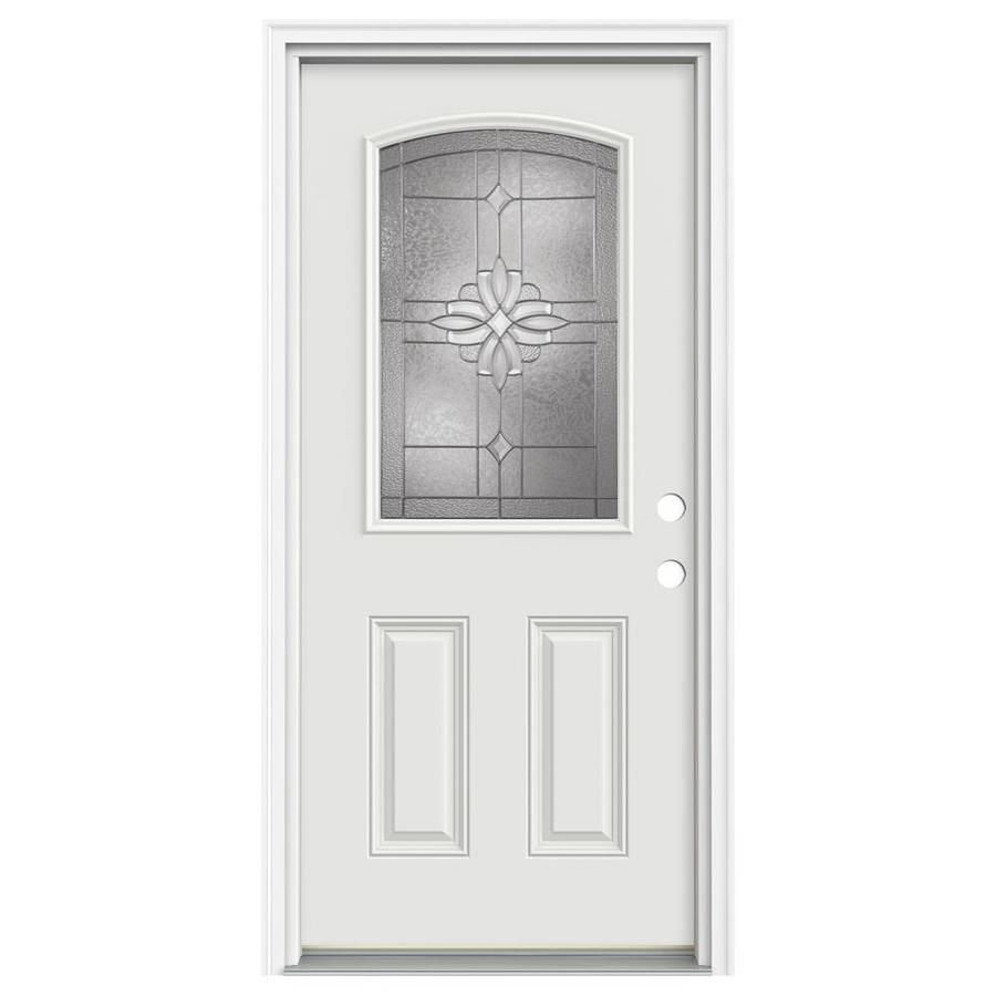 ReliaBilt Laurel 2-Panel Insulating Core Camber Top Half Lite Left-Hand Inswing Primed Fiberglass Primed Prehung Entry Door (Common: 36-in x 80-in; Actual: 37.5-in x 81.75-in)