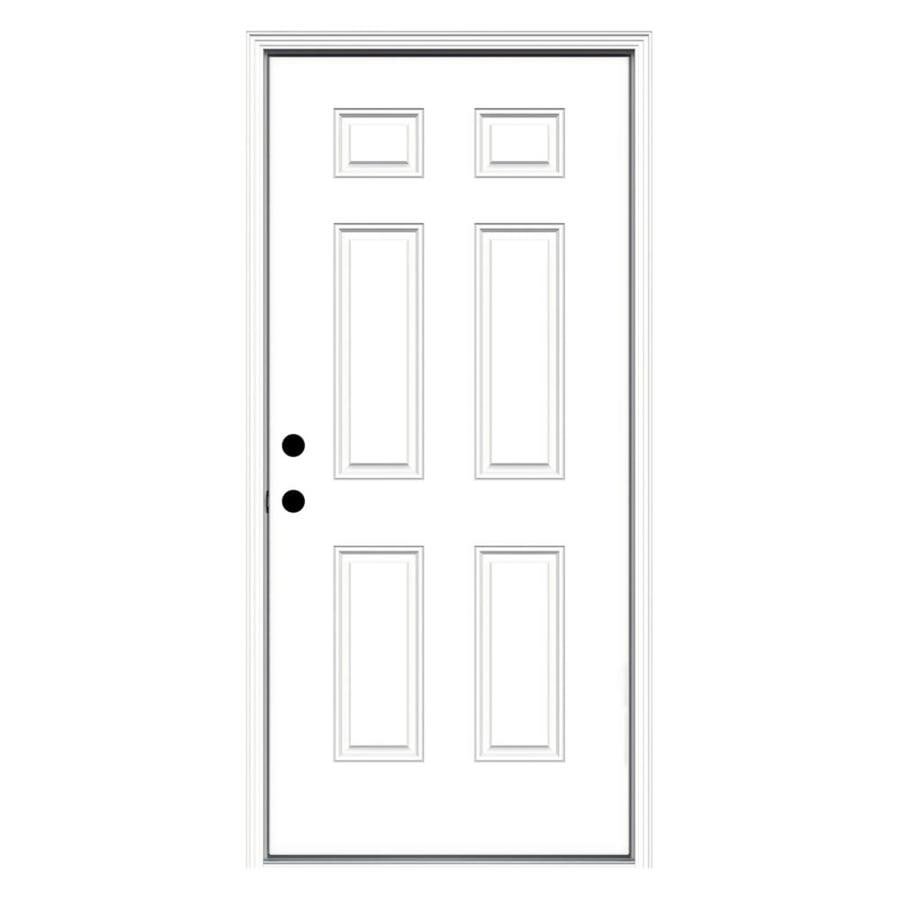 ReliaBilt 6-Panel Insulating Core Right-Hand Inswing Primed Fiberglass Prehung Entry Door (Common: 36-in x 80-in; Actual: 37.5-in x 81.75-in)