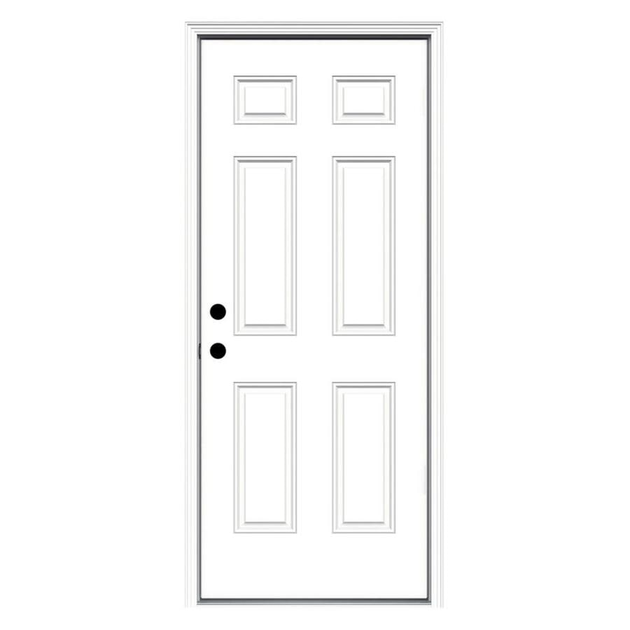 ReliaBilt Right-Hand Inswing Primed Fiberglass Prehung Entry Door with Insulating Core (Common: 32-in x 80-in; Actual: 33.5000-in x 81.7500-in)