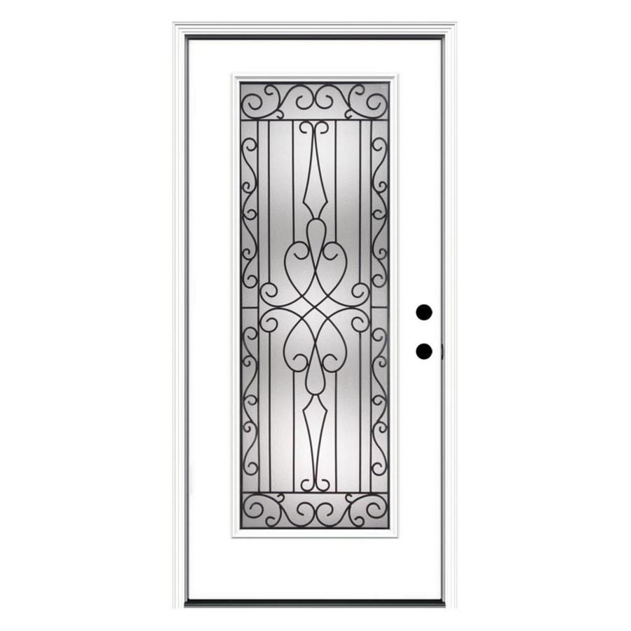 ReliaBilt Wyngate 1-Panel Insulating Core Full Lite Left-Hand Inswing Primed Fiberglass Primed Prehung Entry Door (Common: 36.0000-in x 80.0000-in; Actual: 37.5000-in x 81.7500-in)