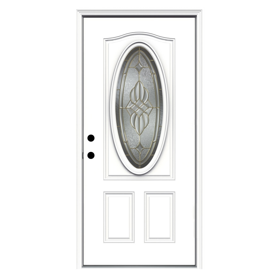 ReliaBilt Prescott Decorative Glass Right-Hand Inswing Primed Fiberglass Prehung Entry Door with Insulating Core (Common: 36-in x 80-in; Actual: 37.5000-in x 81.7500-in)