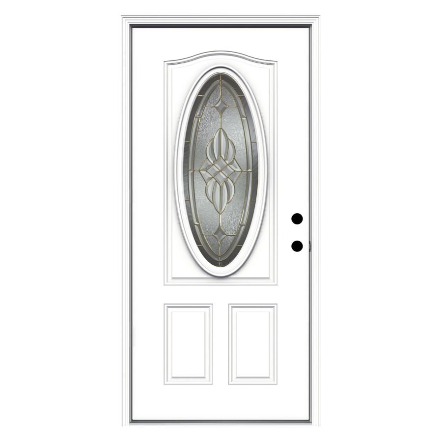 ReliaBilt 2-Panel Insulating Core Oval Lite Left-Hand Inswing Primed Fiberglass Primed Prehung Entry Door (Common: 36-in x 80-in; Actual: 37.5-in x 81.75-in)