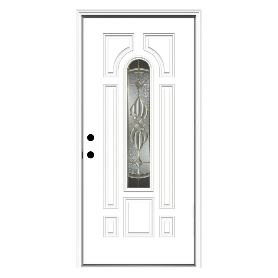 ReliaBilt 8-Panel Insulating Core Center Arch Lite Right-Hand Inswing Primed Fiberglass Primed Prehung Entry Door (Common: 36-in x 80-in; Actual: 37.5-in x 81.75-in)