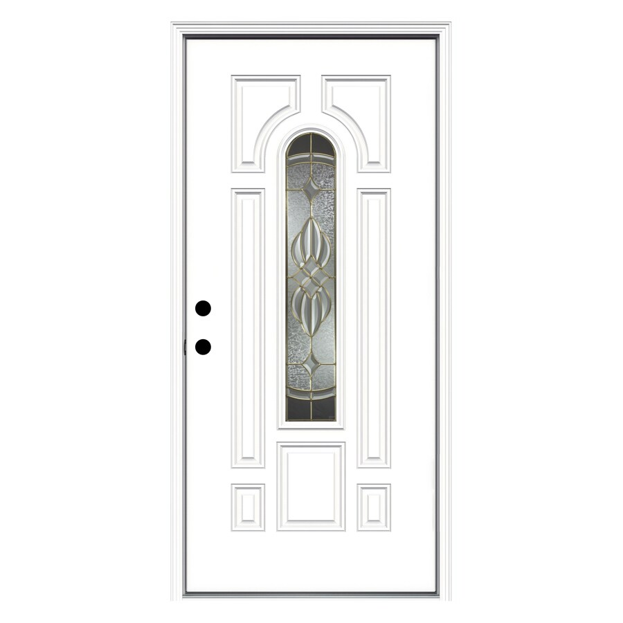 ReliaBilt Prescott Decorative Glass Right-Hand Inswing Fiberglass Primed Entry Door (Common: 36-in x 80-in; Actual: 37.5000-in x 81.7500-in)
