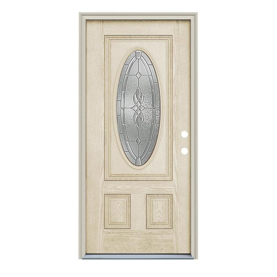 ReliaBilt Hampton Decorative Glass Left-Hand Inswing Fiberglass Prehung Entry Door with Insulating Core (Common: 36-in x 80-in; Actual: 37.5-in x 81.75-in)