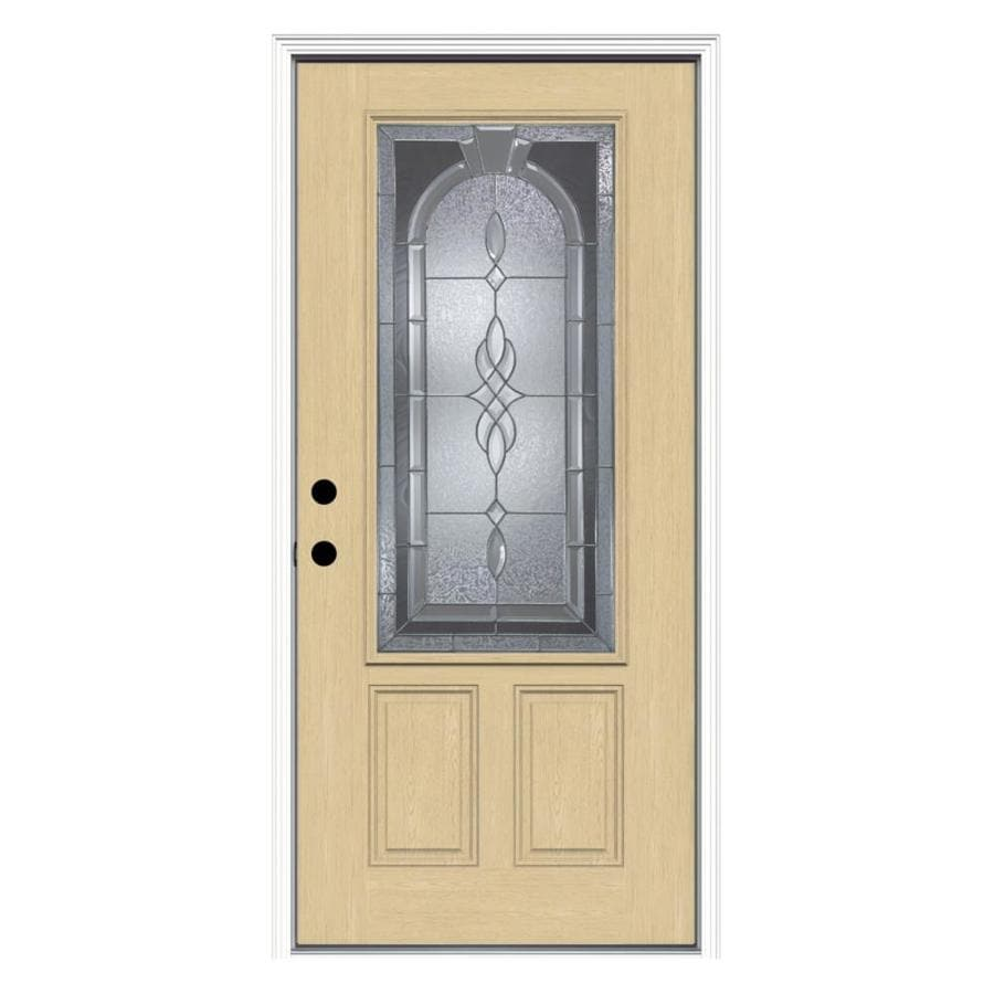ReliaBilt Hampton 1-Panel Insulating Core 3/4 Lite Right-Hand Inswing Fiberglass Unfinished Prehung Entry Door (Common: 36-in x 80-in; Actual: 37.5-in x 81.75-in)