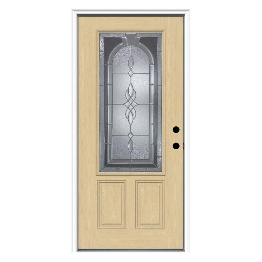 Shop reliabilt hampton decorative glass left hand inswing for Fiberglass entrance doors