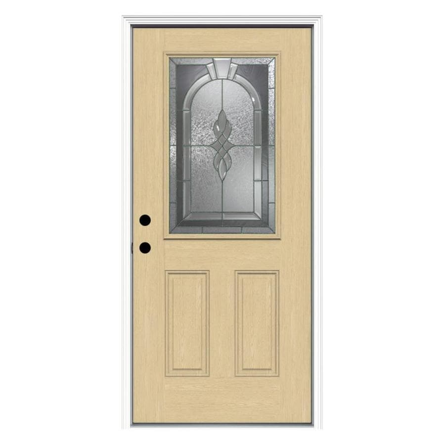 ReliaBilt Hampton 2-Panel Insulating Core Half Lite Right-Hand Inswing Fiberglass Unfinished Prehung Entry Door (Common: 36-in x 80-in; Actual: 37.5-in x 81.75-in)
