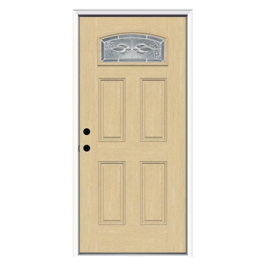 ReliaBilt Hampton Decorative Glass Right-Hand Inswing Fiberglass Prehung Entry Door with Insulating Core (Common: 36-in x 80-in; Actual: 37.5000-in x 81.7500-in)