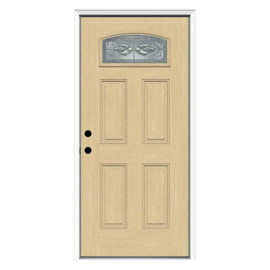 ReliaBilt Hampton Decorative Glass Right-Hand Inswing Fiberglass Prehung Entry Door with Insulating Core (Common: 36-in x 80-in; Actual: 37.5-in x 81.75-in)