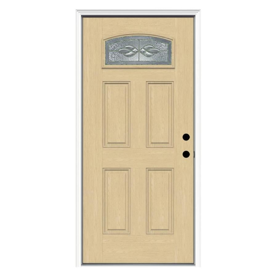 ReliaBilt Hampton Decorative Glass Left-Hand Inswing Fiberglass Prehung Entry Door with Insulating Core (Common: 36-in x 80-in; Actual: 37.5000-in x 81.7500-in)