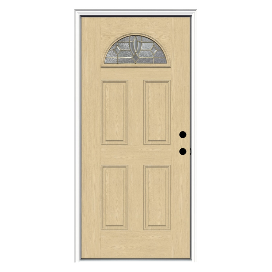 ReliaBilt Laurel 4-Panel Insulating Core Fan Lite Left-Hand Inswing Fiberglass Unfinished Prehung Entry Door (Common: 36-in x 80-in; Actual: 37.5-in x 81.75-in)