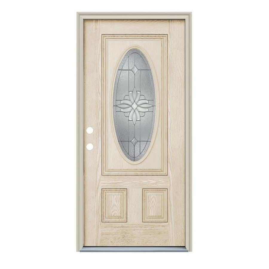 ReliaBilt Laurel Decorative Glass Right-Hand Inswing Fiberglass Entry Door (Common: 36-in x 80-in; Actual: 37.5000-in x 81.7500-in)