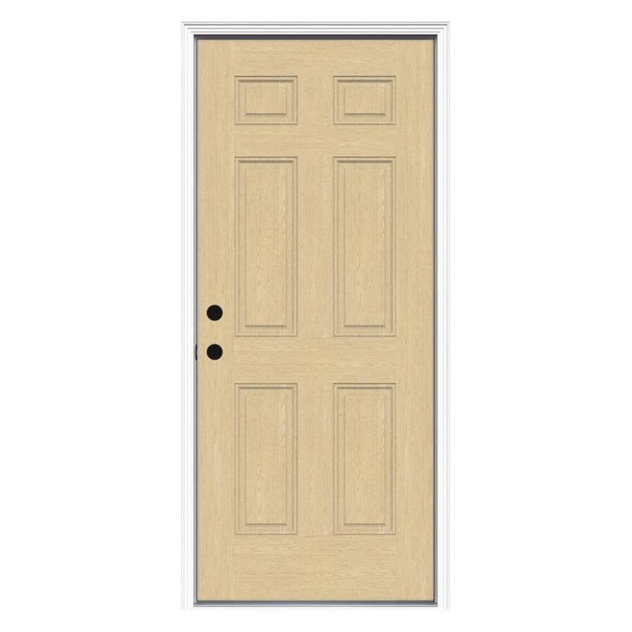 Shop Jeld Wen Right Hand Inswing Fiberglass Prehung Entry Door With Insulating Core Common 32