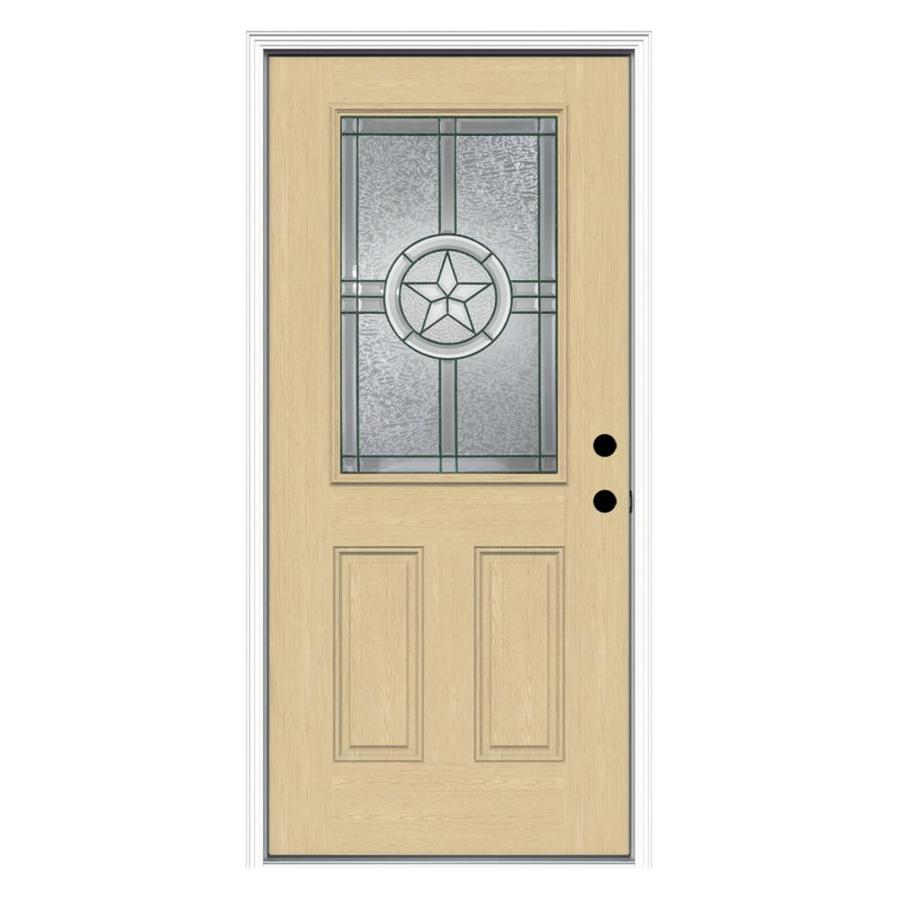 ReliaBilt Radiant Star Decorative Glass Left-Hand Inswing Fiberglass Prehung Entry Door with Insulating Core (Common: 36-in x 80-in; Actual: 37.5000-in x 81.7500-in)