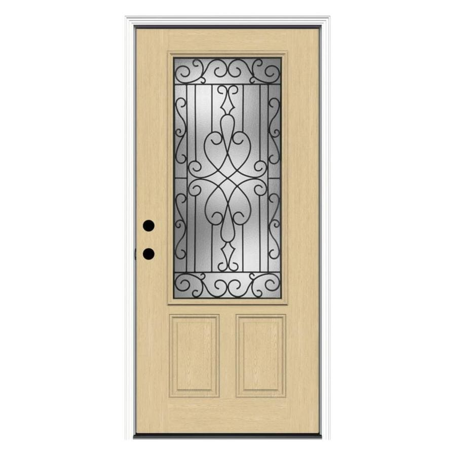 Shop reliabilt wyngate decorative glass right hand inswing for Fiberglass entry doors with glass