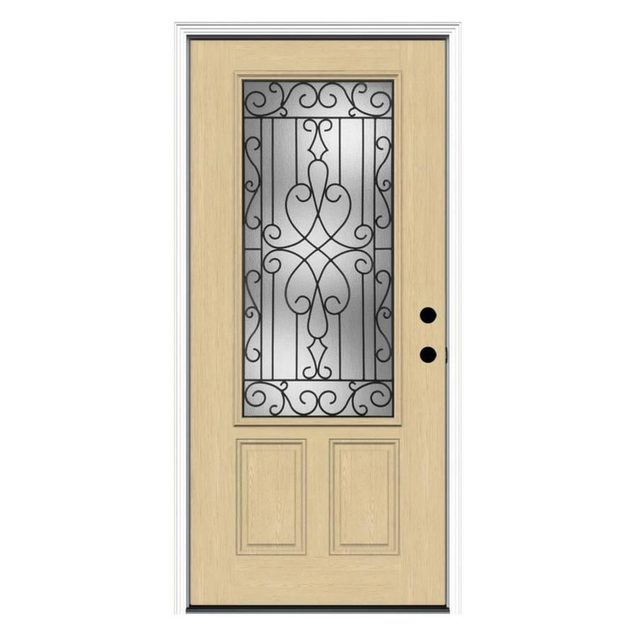 ReliaBilt Wyngate 2-Panel Insulating Core 3/4 Lite Left-Hand Inswing Fiberglass Unfinished Prehung Entry Door (Common: 36-in x 80-in; Actual: 37.5-in x 81.75-in)