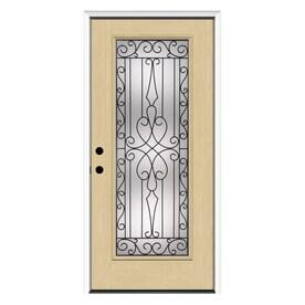 JELD WEN Wyngate Full Lite Decorative Glass Fiberglass Prehung Entry Door  With Insulating Core (